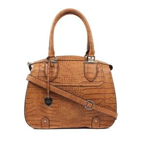London Fog Crocodile Print Large Handbag- Cognac